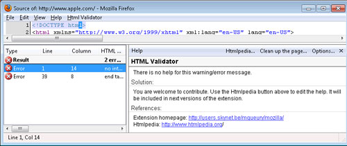 HTMLValidator - source window